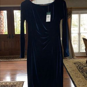 Ralph Lauren velvet dress size 6 navy